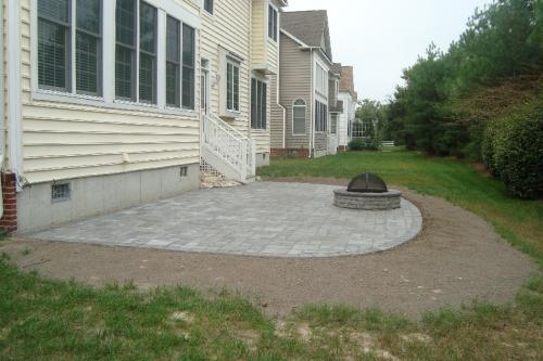 EP Henry Village Square Paver Patio With Fire Pit / Pewter Blend