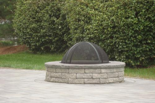 square paver patio with fire pit. EP Henry Village Square Paver Patio With Fire Pit / Pewter Blend